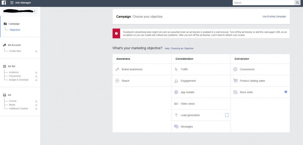 facebook manager interface