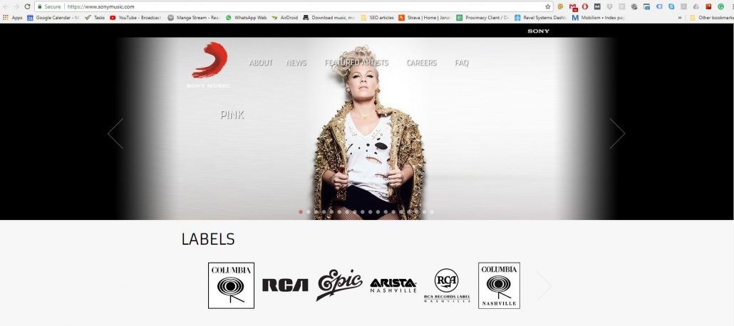 sony music on wordpress