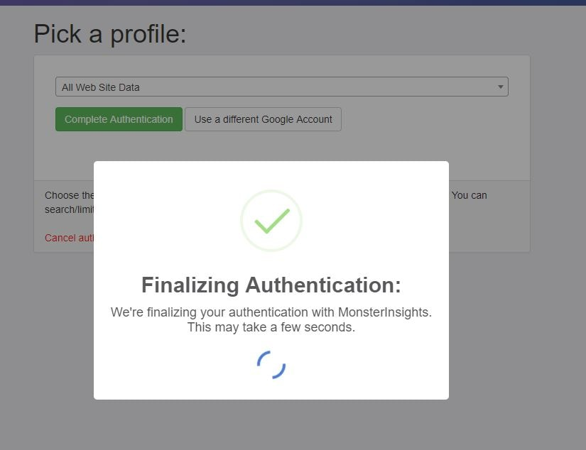 finalising authentication