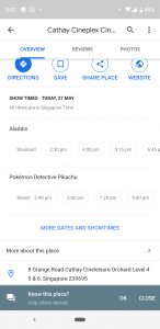 cinema listing overview on google maps